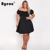 Ryeon Plus Size Off Shoulder Sexy Women Dress Big Size Black Red Wine Slash Neck Tunic
