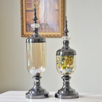 Europe Luxury Crystal Glass Vase Alloy Large vase base Retro Crafts gift flower vases for wedding vases for table decorations