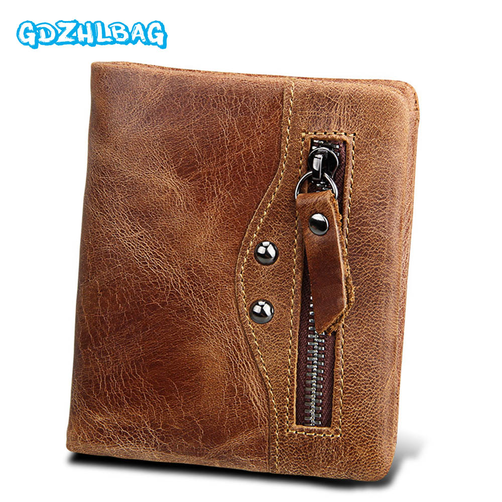 GDZHLBAG 100% Genuine Leather Men Wallets Man Famous Small Short portomonee with Coin Zipper Mini Male Purses Card Holder Walet