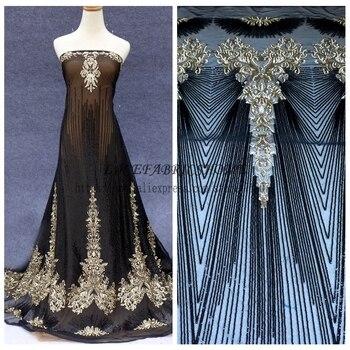 1 yard Nuovo stile Fshion Blak & oro/nero/bianco paillettes su rete ricamato da sposa/sposa/abito da sera in pizzo tessuto