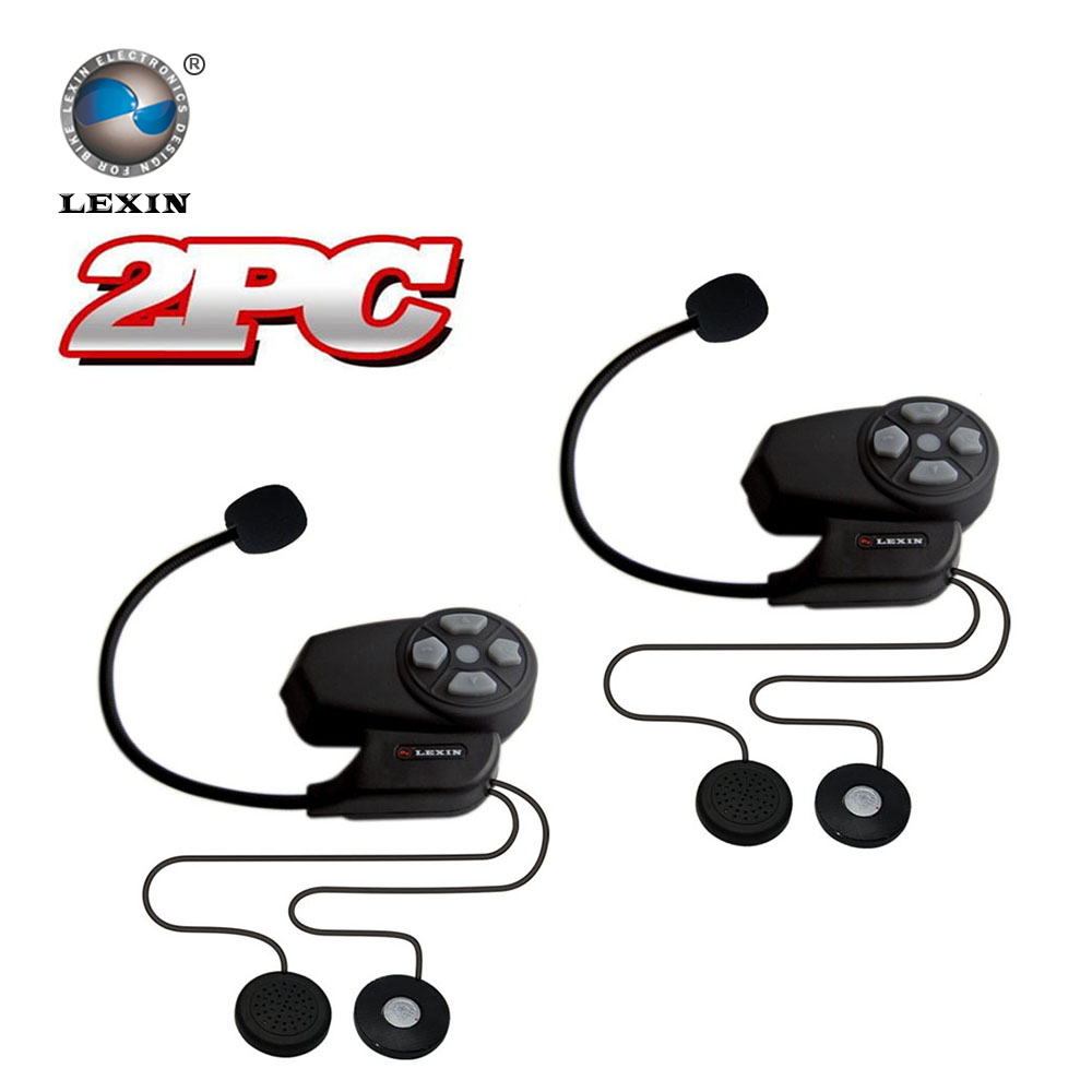 Newest Brand Lexin 2pcs BT Bluetooth helmet Intercom Motorcycle wireless interphone headset intercomunicador motocicleta 2016 newest bt s2 1000m motorcycle helmet bluetooth headset interphone intercom waterproof fm radio music headphones gps