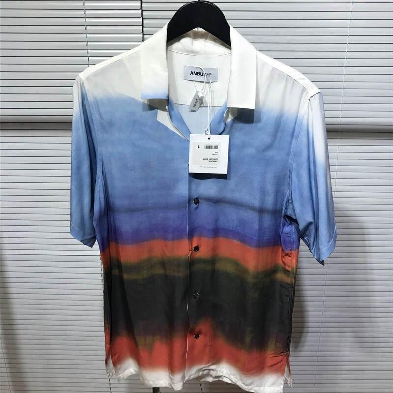 19SS New AMBUSH T-shirt Men Women 1:1 High Quality Tie Dyeing T Shirts Summer Button AMBUSH T Shirt