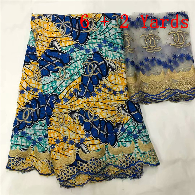 DF!Ankara lace fabric 2018 new design African lace Fabric/ high quality Wax with embroidered tulle lace ! L80862