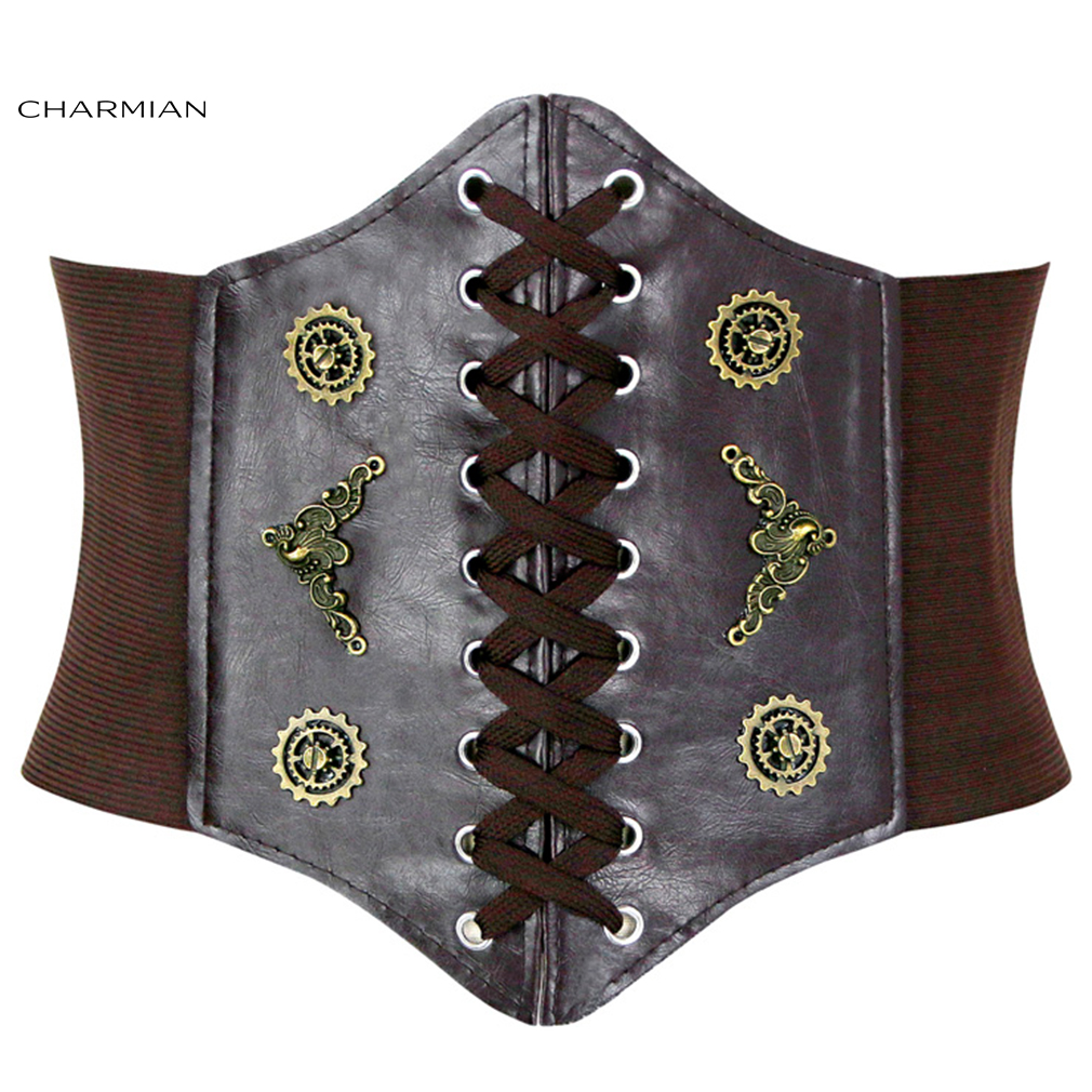 Charmian Fashion Steampunk Coffee&Black Leather Bronze Metal Wheel Gear Front Lace Up High Waisted Cincher Corset Belt