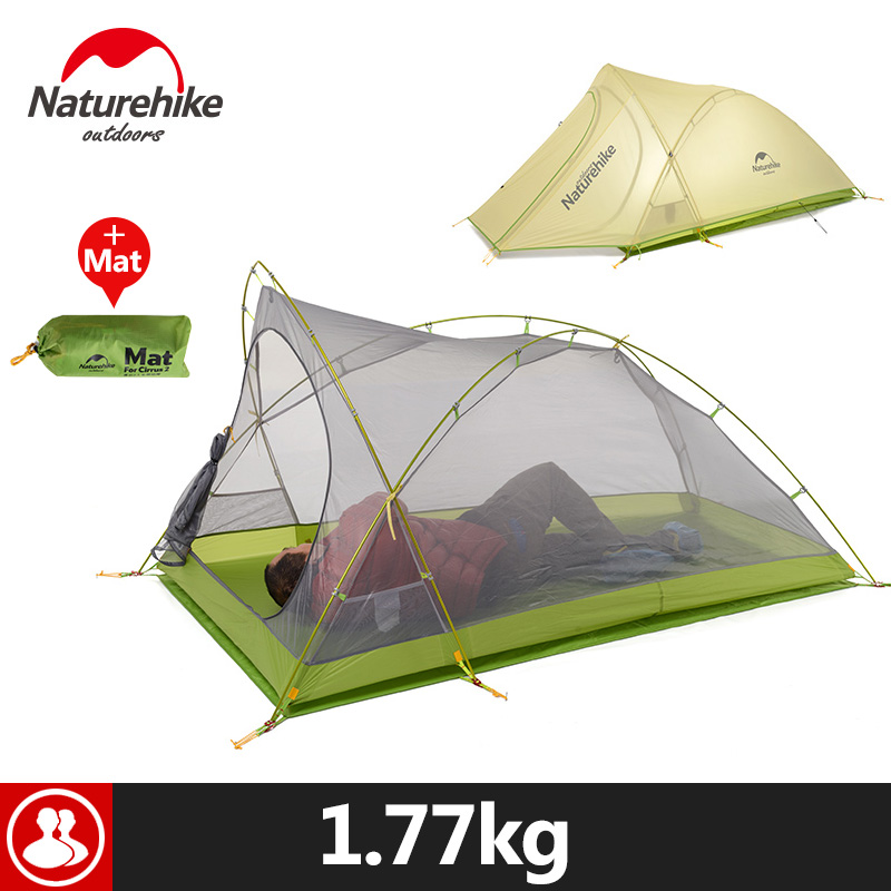 Naturehike 2 Person Camping Tent 20D Silicone Double Layer Hiking Beach Picnic Holiday Outdoor 2 Colors Rainproof Camp Tent dhl free shipping naturehike factory sell double person waterproof double layer camping durable gear picnic tent 20d silicone page 5