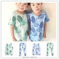 2017 de primavera y verano de impresión león bebé ropa de LAS MUCHACHAS LEGGING corto t shirts + PANTS 2 unids ropa conjuntos BOBO CHOSES SUECIA NIÑOS