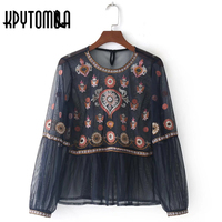 Vintage Chic Floral Embroidered Mesh Blouse Shirt 2017 New Fashion Europe Style Sexy See Through Blouses