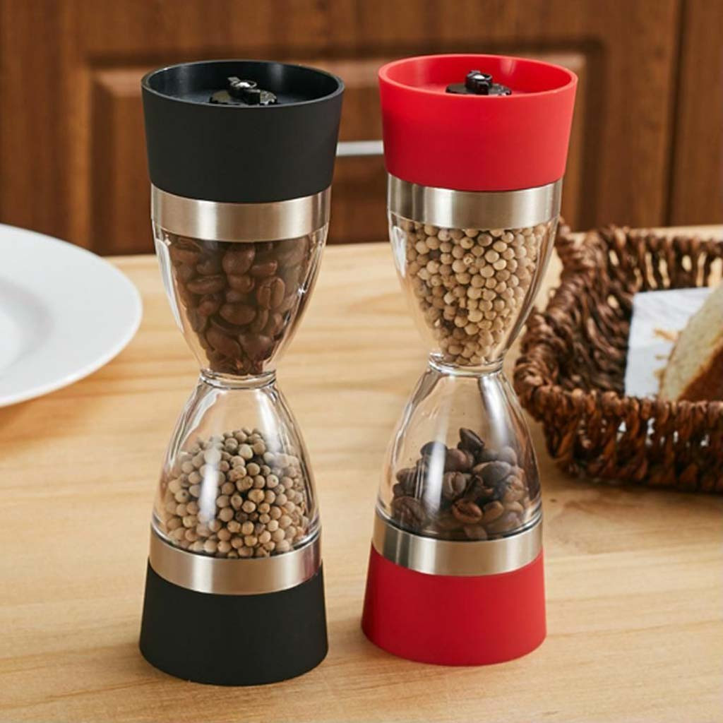 2 In 1 Pepper Shaker Double Salt Pepper Grinder Hourglass Shape Spice Grinder Cooking Tool Double Manual Kitchen Tool K15(China)