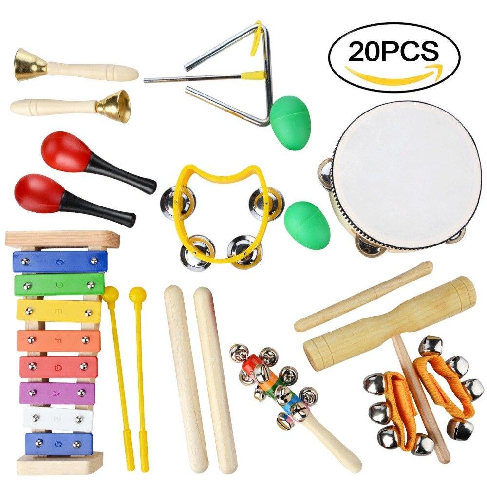 Набор ударных барабанов, 20 шт., Игрушки для раннего обучения, погремушка, молоток с песком, игрушечный набор для малышей