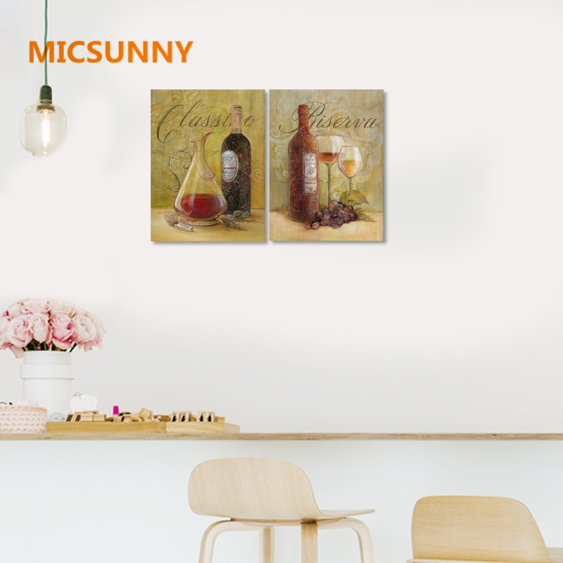 MICSUNNY American Style Vintage Wine Print Patings Unframed Poster Home Wall Paintings For Restaurant Cafe Canvas Decorations