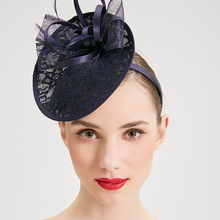 New Ladies Fascinators Hat Women Wedding Royal Hats Sinamay Cocktail Cap with Feather Flower Headware Party Church Fedora Caps цены