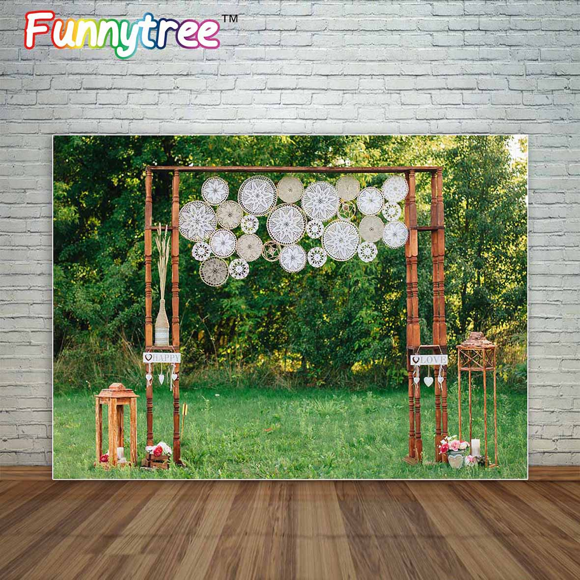 Allenjoy Wedding boho Bohemian style decoration arch in nature grassland photographic background backdrop fond studio photo small houses in nature