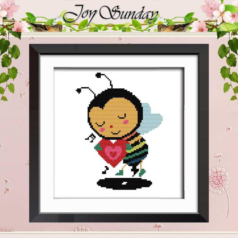 Love bee counted Cross Stitch 11CT 14CT Cross Stitch Set Wholesale DIY cartoon Cross stitch Kit Embroidery Needlework|cross stitch 11ct|cross stitch set|counted cross stitch - title=