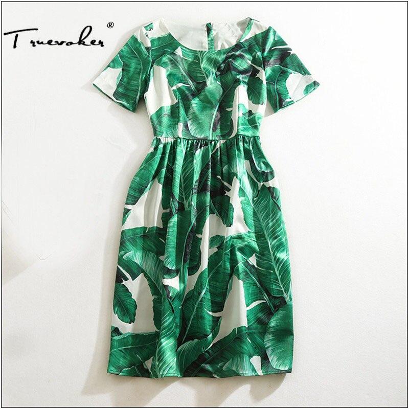 dress qualit 2xl designer t plus gedruckt Truevoker frauen green gre edle mint sommer banana casual leaf mini hohe iXZOkuP