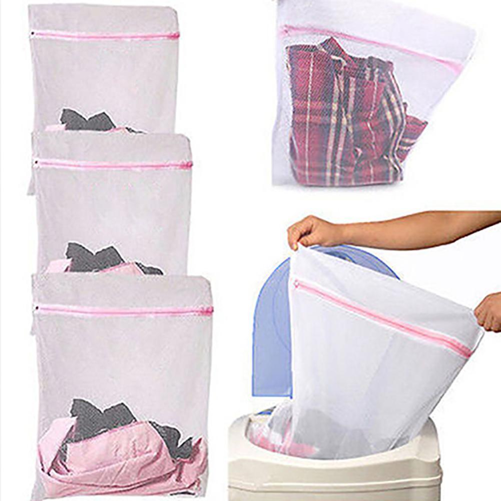US Underwear Clothes Aid Bra Sock Laundry Bag Washing Machine Net Mesh Bags Pink