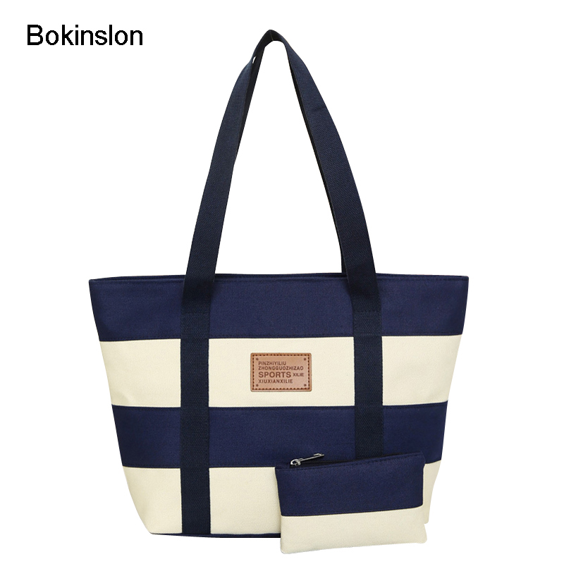 Bokinslon Women Big Bags Canvas Wide Stripe Woman Shoulder Bags Stitching Color Simple Ladies Handbags Bags