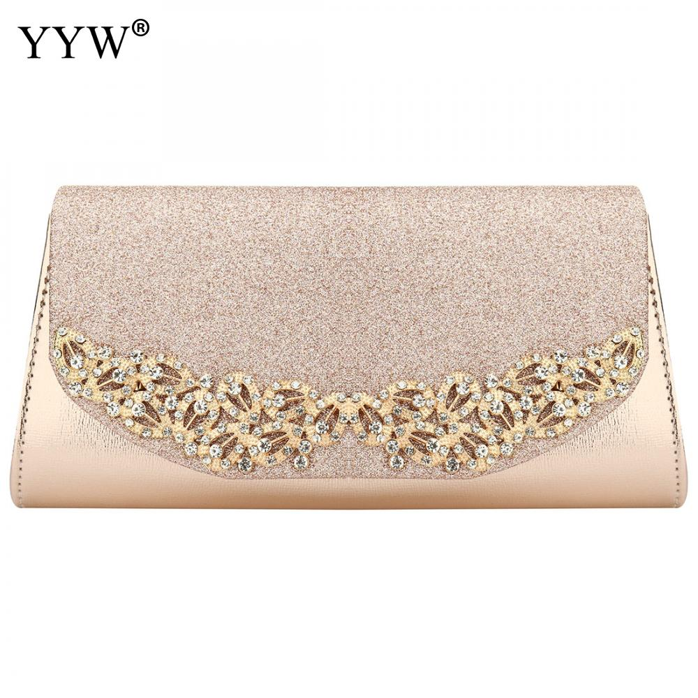 YYW 2019 Champagne Wedding Clutch Female Evening Bags Sac Main Femme Gold Silver Large Capacity Luxury Florl Rhinestone Clutches(China)