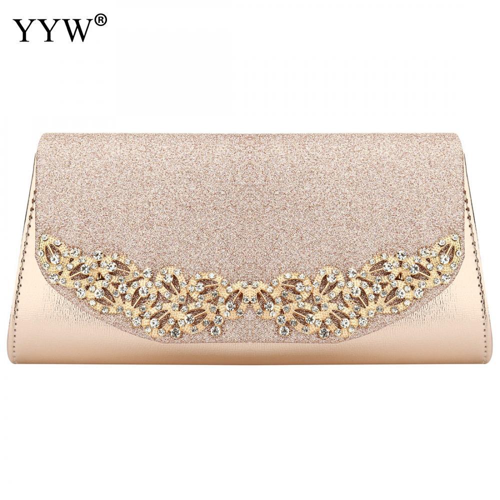 YYW 2019 Champagne Wedding Clutch Female Evening Bags Sac Main Femme Gold Silver Large Capacity Luxury Florl Rhinestone Clutches