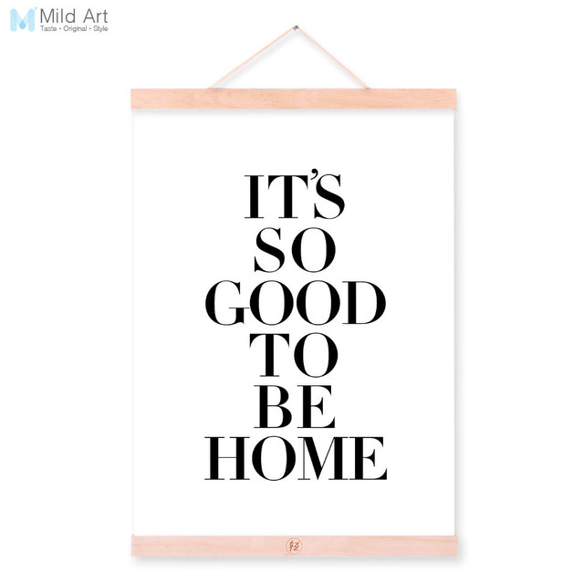 Modern Black White Motivational Home Quote Wooden Framed Canvas