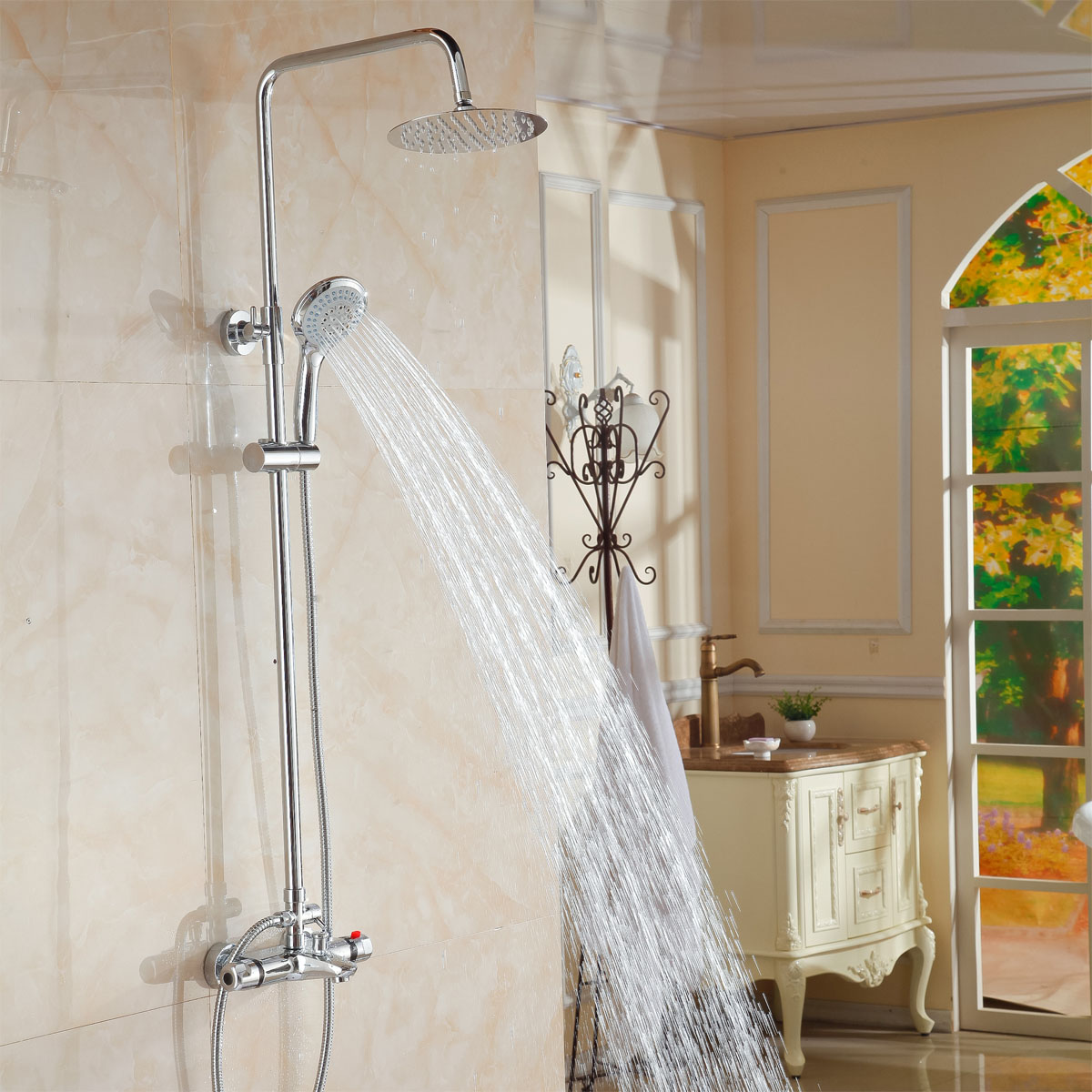 Thermostatic shower faucet shower faucet faucet shower set full copper faucet shipping china sanitary ware chrome wall mount thermostatic water tap water saver thermostatic shower faucet