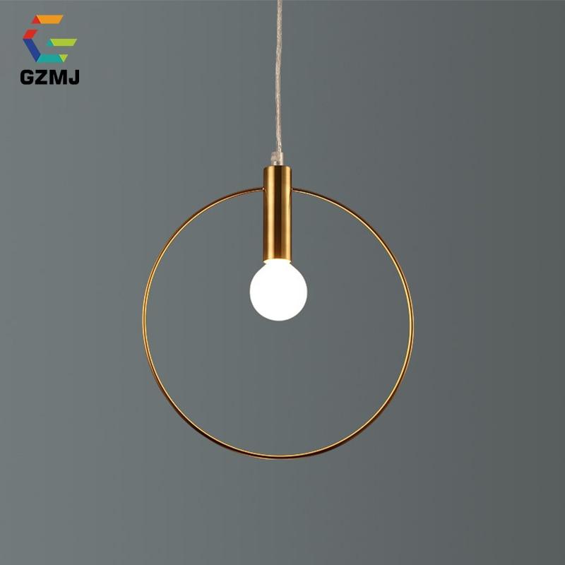 GZMJ Modern Single Ring Pendant Lights Arts Decoration Loft Lamp Antique Gold Suspension Hanglamp Bedroom Dining Room Study
