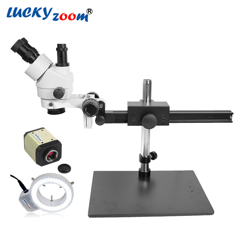 Lucky зум бренда 7X 45X Гибкая подставка тринокулярный микроскоп 2MP VGA AV USB Microscopio Камера 144 шт. светодио дный свет Бесплатная доставка