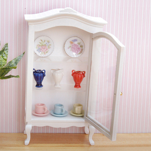 Miniature Doll House White Wooden Cabinet Toy