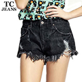 TC Brand New 2016 Denim Shorts For Women Fashion Casual Hole Ripped Tassel Burr Pockets Black jeans Shorts Women Clothing PT0210