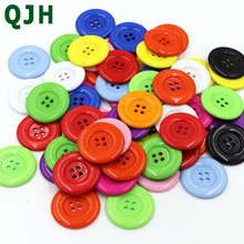 QJH 20pcs 38mm 4 holes Colorful resin coat buttons large fashion buttons clothing accessories diy sewing craft accessories