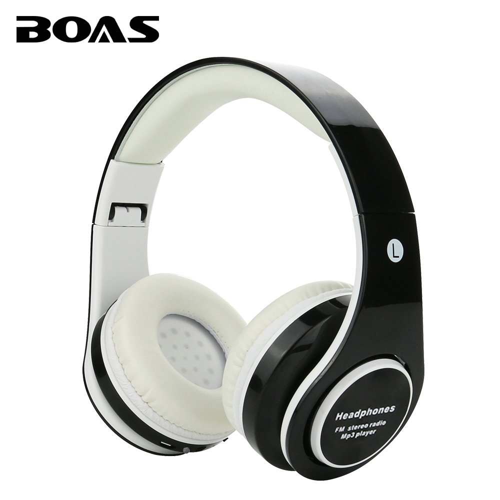 BOAS new wireless bluetooth stereo headsets foldable stereo headphone with mic support FM radio TF card