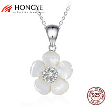 HONGYE 2017 New Arrival 925 Sterling Silver Pendant White Flower Design Necklace for Women Girl Best Gifts Jewelry Free Shipping
