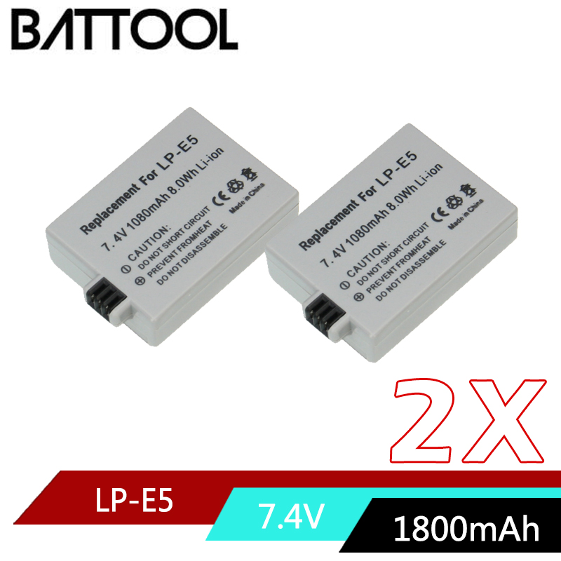 7.4V 1800mAh LP-E5 LPE5 LP E5 Camera Battery for Canon EOS Rebel XS, Rebel T1i, Rebel XSi, 1000D, 500D, 450D, Kiss X3,X2, F free shipping 90%new 450d motherboard for canon 450d rebel xsi k2 mainboard 450d main board camera repair parts