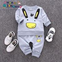 Kleinkind Kinder Kleidung Sets 100% Baumwolle Jungen Mädchen Esel Drucken Langarm T-shirt + Hosen Anzug Kinder Set Infant