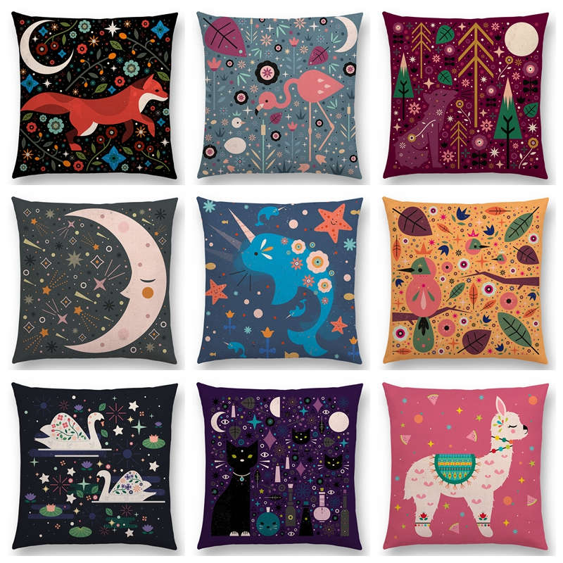Cute Cartoon Animals Sofa Throw Pillow Case Flowers Leaf Moon Stars Night Sky Fox Flamingo Cat Cygnus Bird Narwhal Cushion Cover