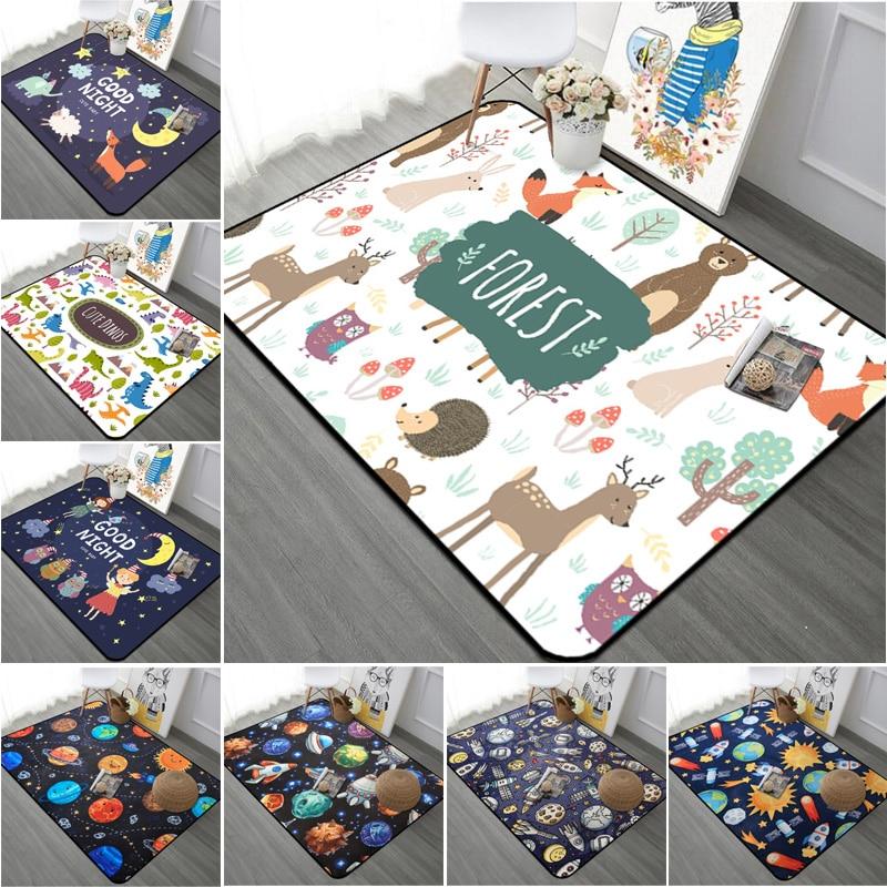 Animal/Stars Printed Short Plush Carpet Anti-Slip Floor Rug Soft Kids Playing Carpets For Living Room Indoor Bedroom Rug
