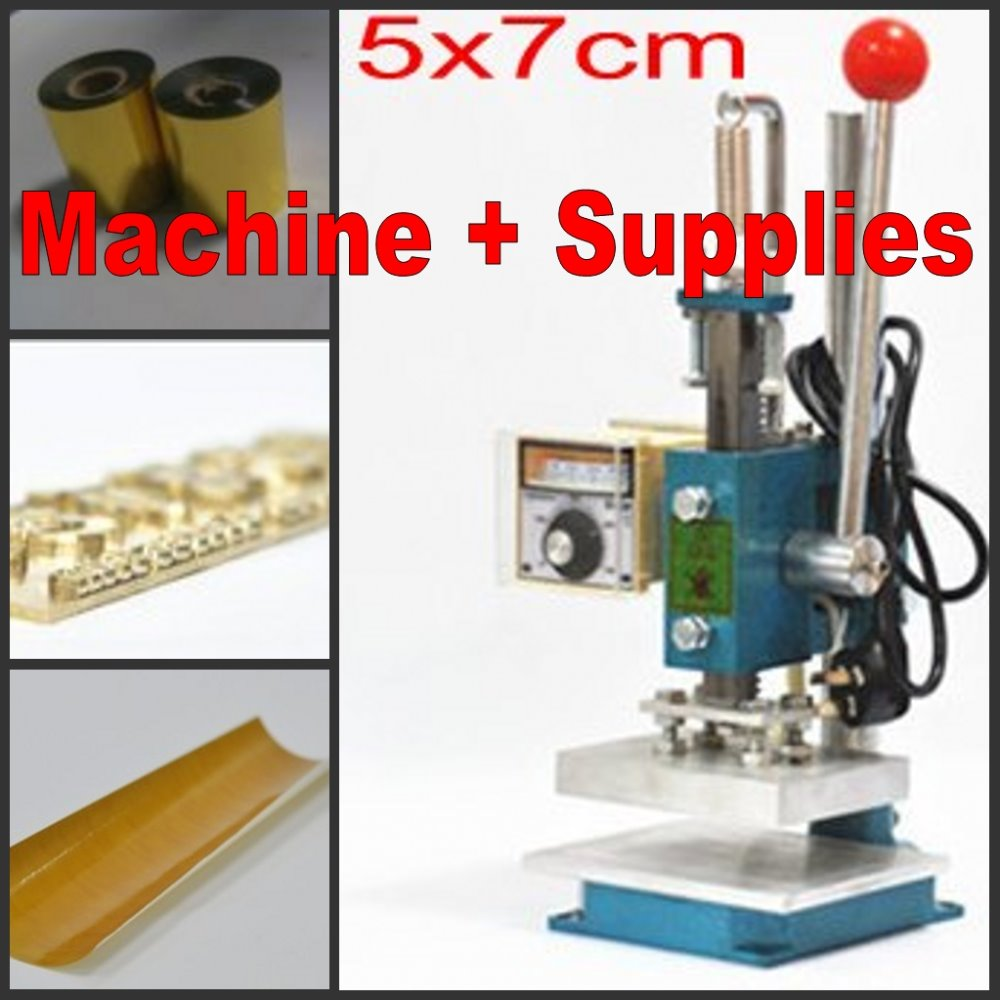 Hot foil stamping machine leather deboss machine 2 in 1 (7x5cm) 110V+ Customized stamp mold + Foil + adhesive tape kits custom seal stamp logo leather mold die carving tool foil embossing brass copper stamping machine mold