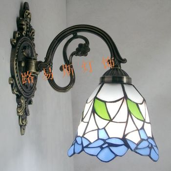 Tiffany blue flower alloy wall lamp bedroom bedside mirror before the Mediterranean sun room balcony hallway lighting Korean