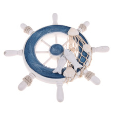 Beach Style Wood Wall Decor Nautical Steering Wheel Fishing Net Home Wall Decoration Boat Ship Rudder Craft