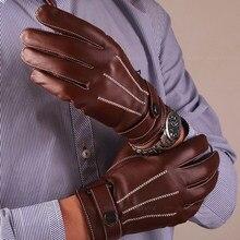 34f5d24cb91ca5 Herren Schwarze Handschuhe Schafe Haut der Männer Echte Lederne Handschuhe  Winddichte Manschette Männliche Lederhandschuhe Mode Plus
