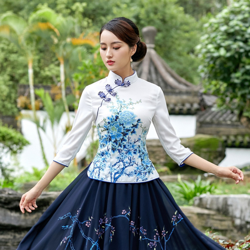 Sheng Coco 4XL Plus Size Woman's Chinese Traditional Clothing Elegant Shirts Ancient Chinese Cheongsam Qipao Blouse Tops Blue