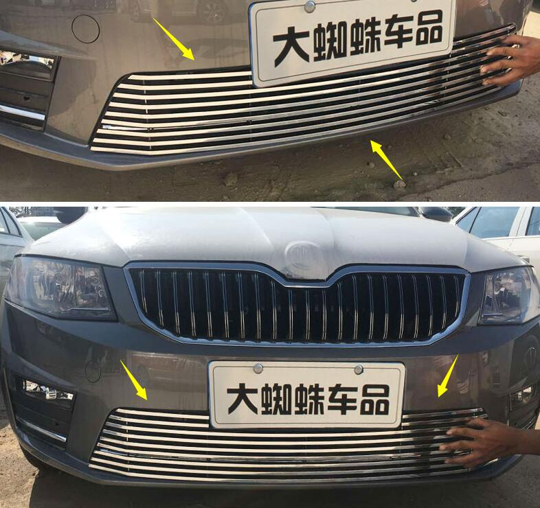 lane legend case for Skoda Octavia MK3 A7 2017 steel Front bottom grille grill mesh cover protector Car styling front car bumper mesh grille for 2014 chery tiggo 5 car front mesh grill