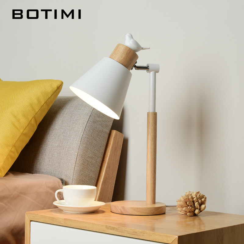 BOTIMI Nordic LED Table Lamp With Metal Lampshade For Bedroom White Bedside Desk lights Black Reading Lamps Wooden Luminaria in LED Table Lamps from Lights Lighting