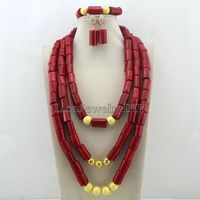 2016 Red African Coral Beads Jewelry Sets Fashion Nigerian Wedding African Costume Beads Jewelry Set Free Shipping HD7536