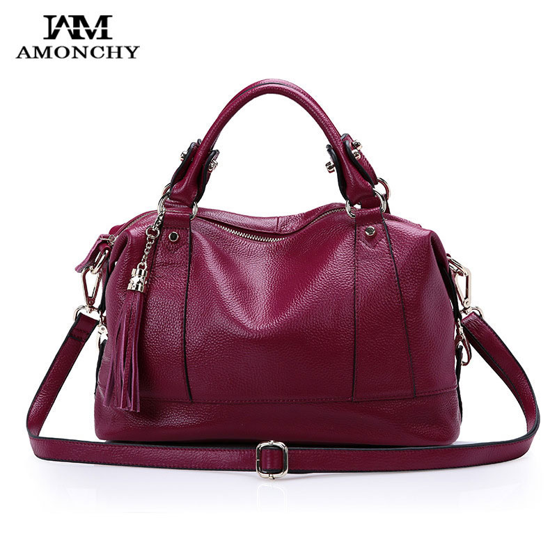 AMONCHY Brand Ladies Genuine Leather Handbags Tassel Women's Shoulder Messenger Bags Natural Cowhide Tote Handle Bag Winter 2017 amonchy genuine leather men shoulder bags handbags crocodile male bags natural leather man messenger bag alligator totes sac m50