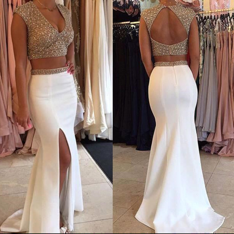 2019 Sexy Backless Two Pieces   Evening     Dresses   Mermaid Satin Beading Crystal Prom   Dress   Robe De Soiree Party   Dresses     Evening   Gown