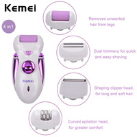 Kemei 4 In 1 Rechargeable Electric Hair Remover Epilator Depilador Shaver Hair Trimmer Clipper Shaving Lady