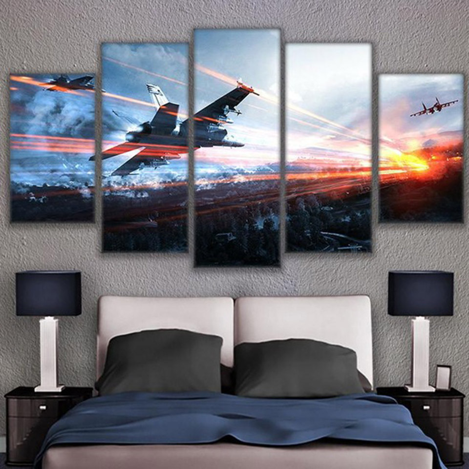 Living Room Framework HD Home Decor Printed Pictures 5 Panel Game Battlefield Modern Canvas Painting Wall Art Modular Poster