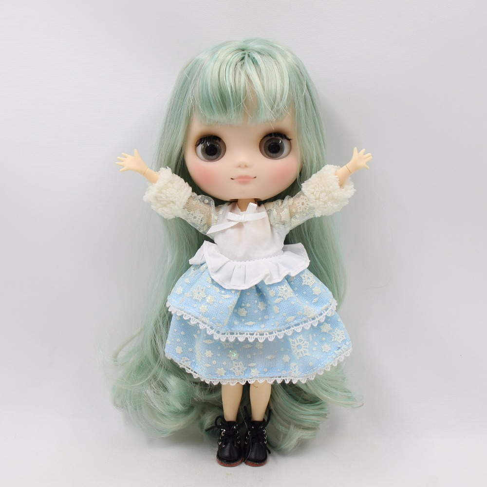 Free shipping blyth Middie Doll green mix grey hair joint doll matte face 1/8 doll BL9400/4006 20cm цена и фото