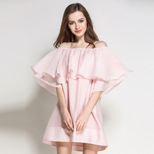 2017 New Arrival One Size Fits All Summer Dress Female Dresses Women's Clothing Sexy Off Shoulder Solid Color Loose Fit in Pink