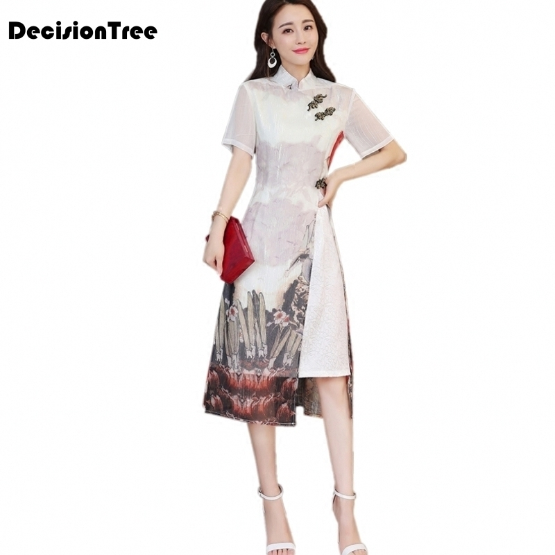 2019 Ao Dai Cheongsam Folk Style Vietnam Robes Wide Leg Pants Suit Two Pieces Chiffon Aodai Graceful Stand Collar Elegant